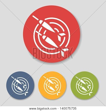Flat dart icons in colorful circles set vector illustration