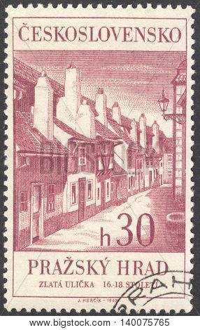 MOSCOW RUSSIA - CIRCA FEBRUARY 2016: a post stamp printed in CZECHOSLOVAKIA shows Golden Street the series