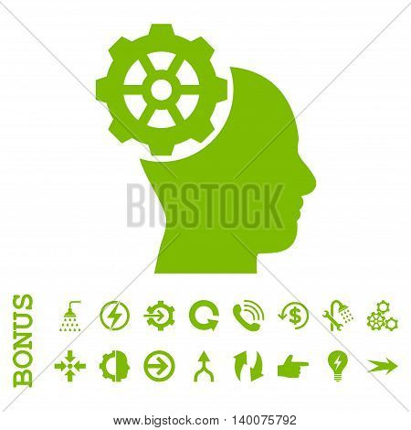 Head Gear glyph icon. Image style is a flat iconic symbol, eco green color, white background.