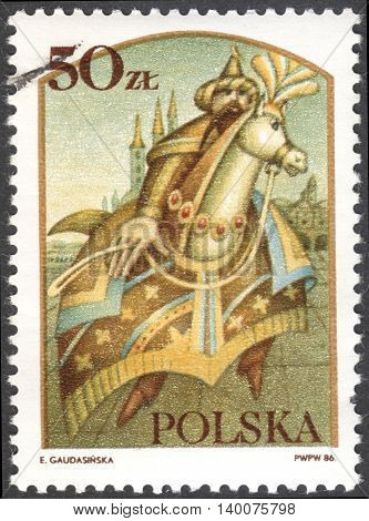 MOSCOW RUSSIA - CIRCA FEBRUARY 2016: a post stamp printed in POLAND shows Lajkonik the series