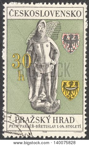 MOSCOW RUSSIA - CIRCA FEBRUARY 2016: a post stamp printed in CZECHOSLOVAKIA shows Bretislav I - From Tomb in St. Vitus' Cathedral the series