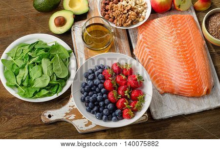 Best Foods For Healthy Heart On  Wooden Background.