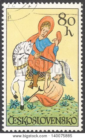 MOSCOW RUSSIA - CIRCA FEBRUARY 2016: a post stamp printed in CZECHOSLOVAKIA shows St. Martin the series