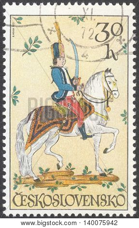 MOSCOW RUSSIA - CIRCA FEBRUARY 2016: a post stamp printed in CZECHOSLOVAKIA shows a hussar the series