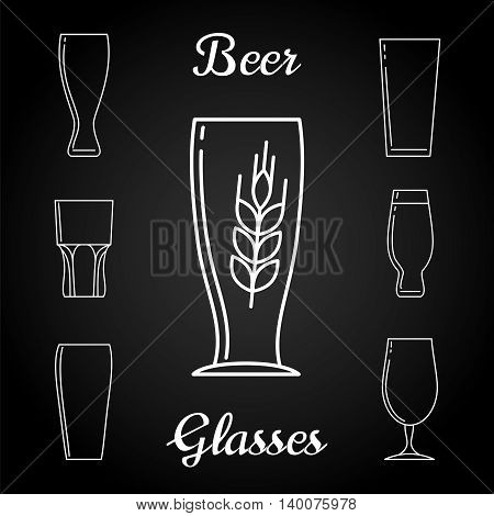 Line beer glasses icons vector and branch of rye on blackboard