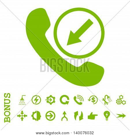 Incoming Call glyph icon. Image style is a flat iconic symbol, eco green color, white background.