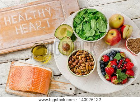 Foods For Healthy Heart. Balanced Diet.