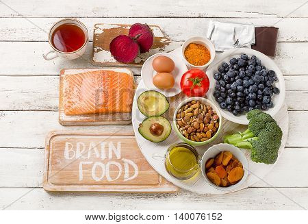 Foods For Brain. Healthy Eating Concept.