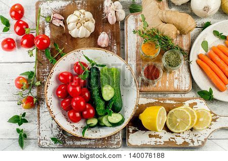 Organic Vegetables With Fresh Herbs And Spices. Healthy Food Background.