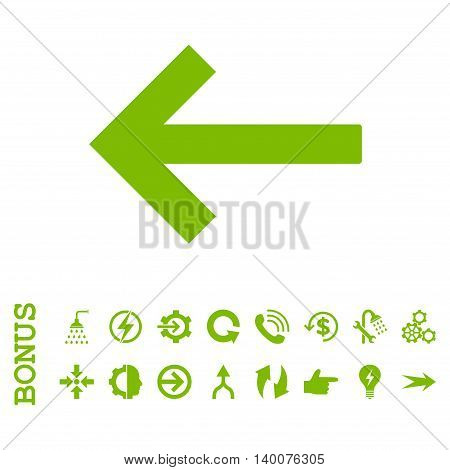 Left Arrow glyph icon. Image style is a flat pictogram symbol, eco green color, white background.