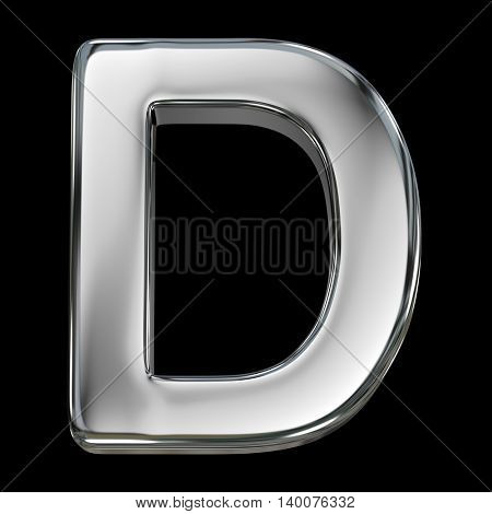 Letter D from chrome solid alphabet isolated on white