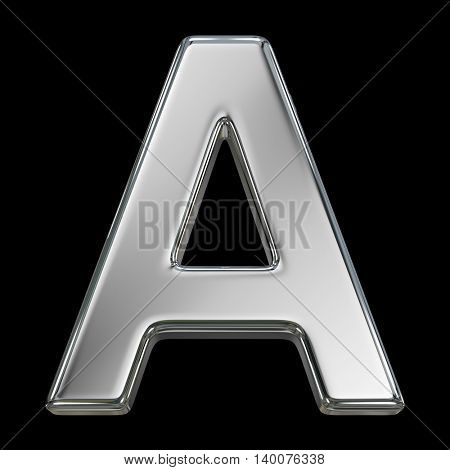Letter A from chrome solid alphabet isolated on white