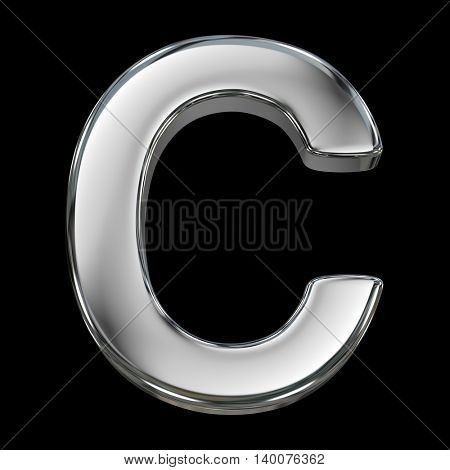 Letter C from chrome solid alphabet isolated on white