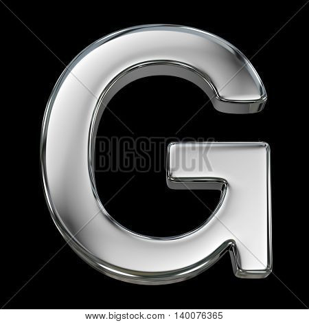 Letter G from chrome solid alphabet isolated on white