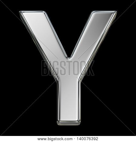 Letter Y from chrome solid alphabet isolated on white