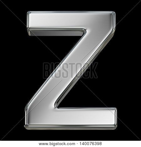 Letter Z from chrome solid alphabet isolated on white