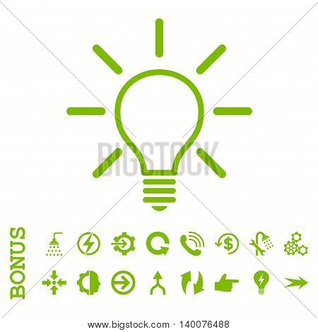 Light Bulb glyph icon. Image style is a flat iconic symbol, eco green color, white background.
