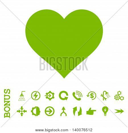 Love Heart glyph icon. Image style is a flat pictogram symbol, eco green color, white background.