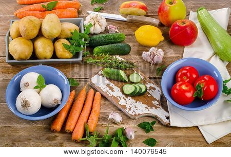 Raw Organic Vegetables And Fruits.
