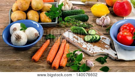 Raw Organic Vegetables. Healthy Food Background.