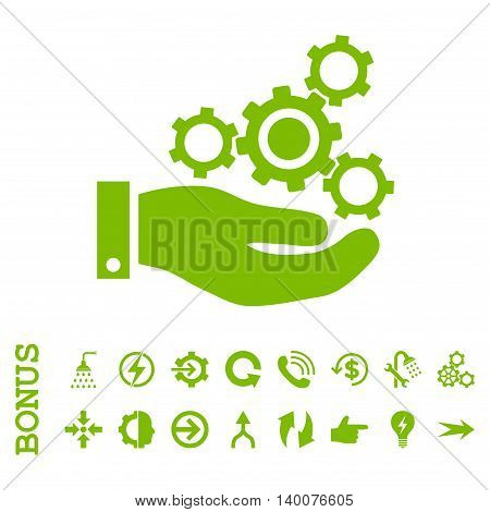 Mechanics Service glyph icon. Image style is a flat iconic symbol, eco green color, white background.