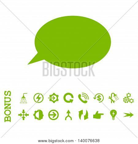 Message Cloud glyph icon. Image style is a flat iconic symbol, eco green color, white background.