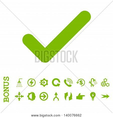 Ok glyph icon. Image style is a flat pictogram symbol, eco green color, white background.