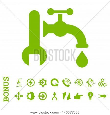 Plumbing glyph icon. Image style is a flat iconic symbol, eco green color, white background.