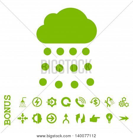 Rain Cloud glyph icon. Image style is a flat pictogram symbol, eco green color, white background.