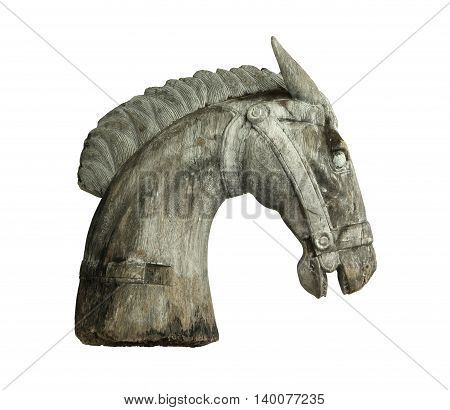 Wooden horse head isolated on white background