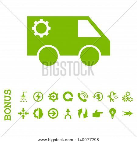 Service Car glyph icon. Image style is a flat iconic symbol, eco green color, white background.