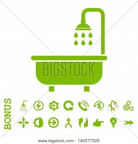 Shower Bath glyph icon. Image style is a flat iconic symbol, eco green color, white background.