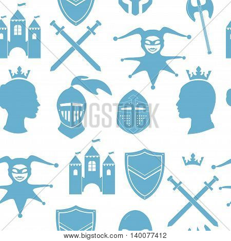 Seamless pattern background. Vector illustration with medieval icons, weapon, sword, shield, King and queen