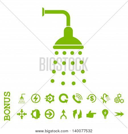 Shower glyph icon. Image style is a flat iconic symbol, eco green color, white background.