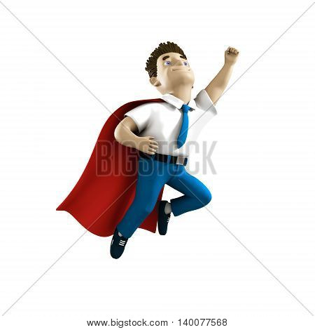 Cool volume business man in cartoon style. 3D person for presentation, print, advertising, web and business. Smiling young manager flying in red cloak. Modern and cool style illustration.