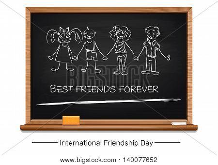 International Friendship Day concept design. Inscription in chalk on a blackboard - BEST FRIENDS FOREVER. Vector illustration