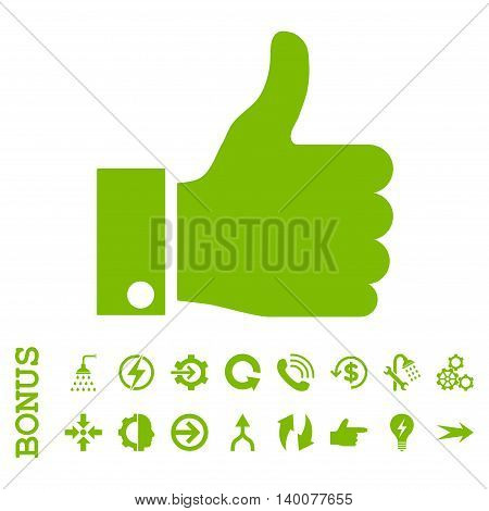 Thumb Up glyph icon. Image style is a flat iconic symbol, eco green color, white background.