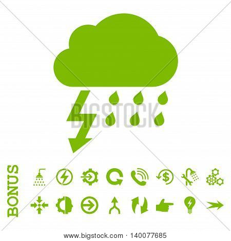 Thunderstorm glyph icon. Image style is a flat iconic symbol, eco green color, white background.
