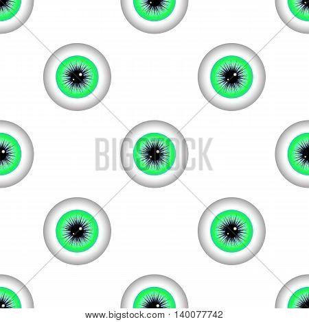Green Human Eye Seamless Pattern. Set of Green Balls