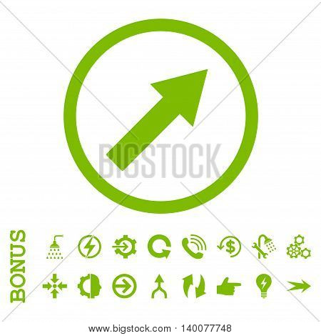 Up-Right Rounded Arrow glyph icon. Image style is a flat pictogram symbol, eco green color, white background.