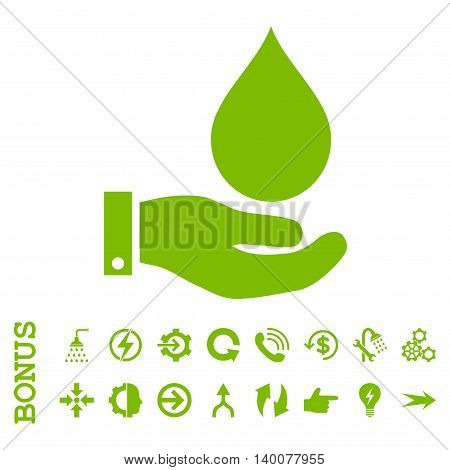 Water Service glyph icon. Image style is a flat pictogram symbol, eco green color, white background.