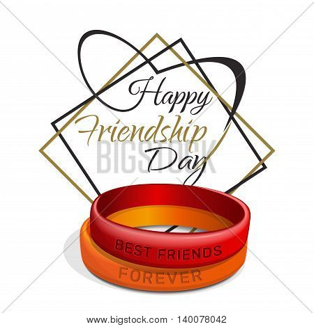 Happy Friendship Day. Red orange friendship bracelets and lettering. Typographic design. Friendship Day lettering card. Vector illustration