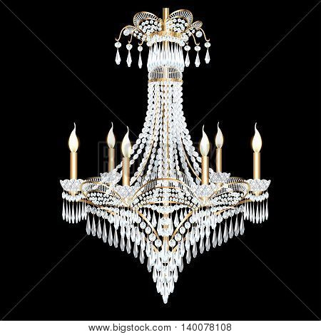 illustration of a modern chandelier with crystal pendants