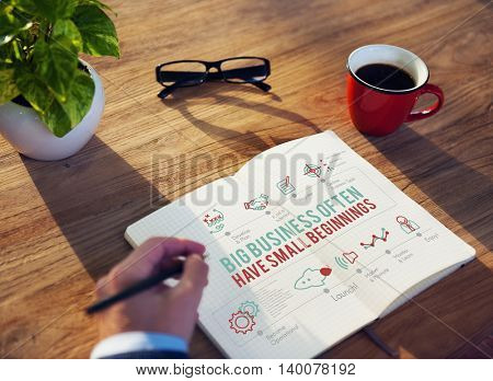 Begin Big Business First Opening Start-up Growth Concept