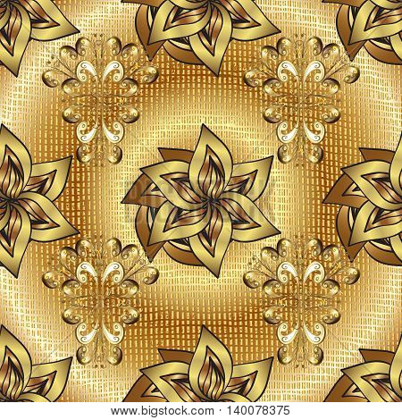 abstract pattern on yellow and golden round gradient background with floral golden elements. Vector illustration.