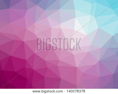 Rainbow pink blue gradient polygon shaped background.
