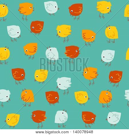 Colorful pattern with cute birds. Seamless. Hand drawn. Animal background in modern pastel colors. Can be used for wallpapers, pattern fills, web page backgrounds, surface textures.