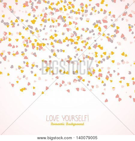 Text frame made from tiny hearts. Valentine's day postcard. Copy space. Frame for text. Romantic flyer with hearts. Lovely concept. Vector illustration.
