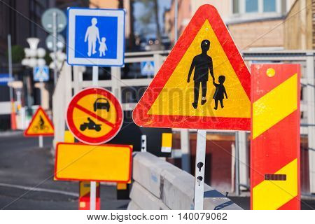 Warning Roadsigns Along European Urban Road