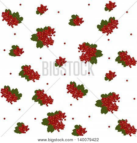 Seamless pattern. Guelder rose berries. Viburnum. Traditional fruit background. Sour berries. Can be used for wallpapers, pattern fills, web page backgrounds, surface textures.